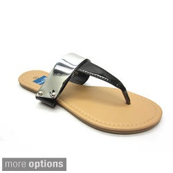 Blue Women's 'Goldie' Hardware Plated Thong Sandals