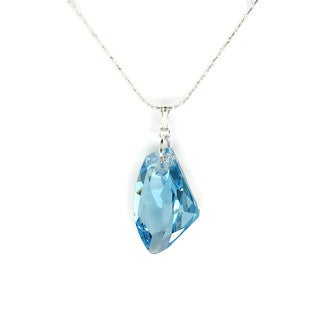 Jewelry by Dawn Large Aquamarine Crystal Galactic Sterling Silver Necklace