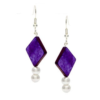 Karla Patin Purple Diamond Dangle Earrings