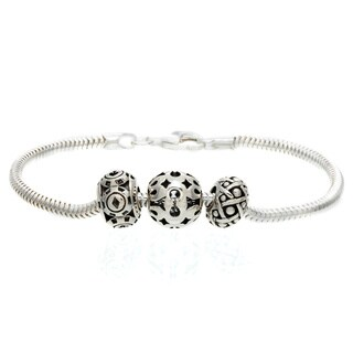 Sterling Silver Openwork Bead Charm Bracelet
