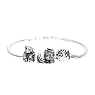 Sterling Silver Animal Bead Charm Bracelet