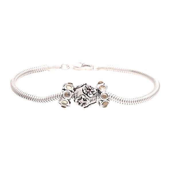 Sterling Silver Pink and Brown Crystal Flower Bead Charm Bracelet