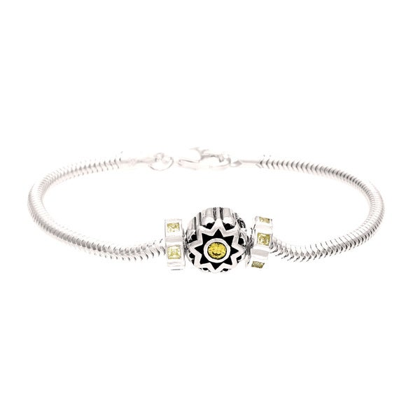 Sterling Silver Yellow and Green Crystal Flower Bead Charm Bracelet