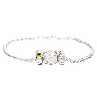 Sterling Silver Clear and Green Crystal Bubble Bead Charm Bracelet