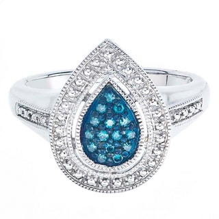 Sterling Silver 1/8ct TDW Blue Diamond Pear-shaped Ring