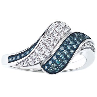 Sterling Silver 1/4ct TDW Blue and White Diamond Bypass Ring (H-I, I2-I3)