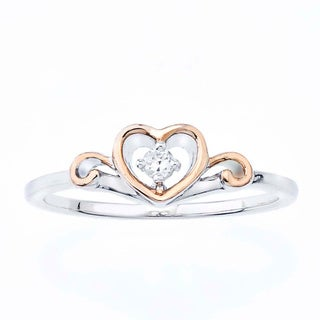 Pink Rhodium-plated Sterling Silver Diamond Accent Heart Ring