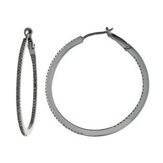Black-plated Sterling Silver 5/8ct TDW Black Diamond Round Hoop Earrings