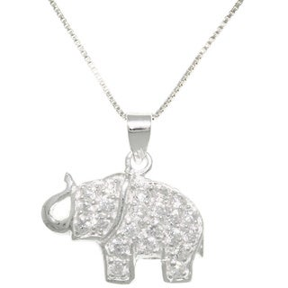 Carolina Glamour Collection Sterling Silver CZ Lucky Elephant Necklace