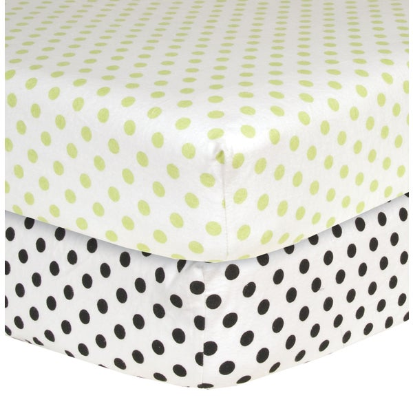 Trend Lab Polka Dot Flannel Crib Sheets (Pack of 2)