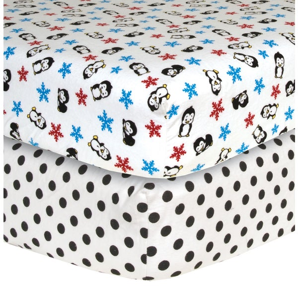 Trend Lab Penguin Flannel Crib Sheets (Pack of 2)