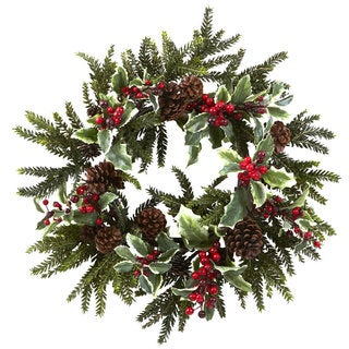 22-inch Holly Berry Wreath