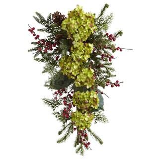 26-inch Hydrangea/ Pine/ Berry Teardrop Swag