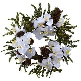 22-inch Phalaenopsis/ Pine Wreath