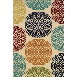 Indoor/Outdoor Ivory/ Multicolor Polypropylene Area Rug (1'9 x 3'9)