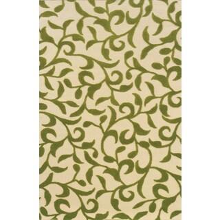 Indoor/Outdoor Ivory/ Green Polypropylene Area Rug (1'9 x 3'9)
