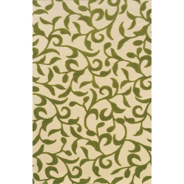Indoor/Outdoor Ivory/ Green Area Rug (1'9 x 3'9)