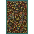 Indoor/ Outdoor Brown/ Multicolor Floral Polypropylene Area Rug (1'9 x 3'9)