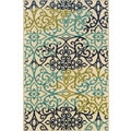 Indoor/Outdoor Ivory/ Blue Polypropylene Area Rug (2'5 x 4'5)