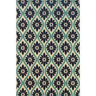 Ivory/ Blue Floral Indoor/ Outdoor Polypropylene Area Rug (2'5 x 4'5)