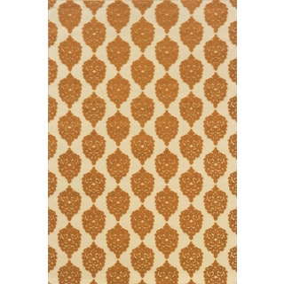 Indoor/Outdoor Ivory/ Orange Polypropylene Area Rug (3'7 x 5'6)
