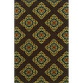 Indoor/ Outdoor Brown/ Multi Polypropylene Area Rug (3'7 x 5'6)
