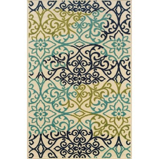 Indoor/ Outdoor Floral-pattern Ivory/ Blue Area Rug (5'3 x 7'6)