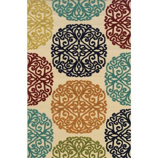 Indoor/ Outdoor Ivory/ Multi Area Rug (5'3 x 7'6)