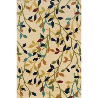 Indoor/ Outdoor Floral-pattern Ivory/ Multi Area Rug (5'3 x 7'6)