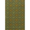 Indoor/ Outdoor Brown/ Green Area Rug (3'7 x 5'6)