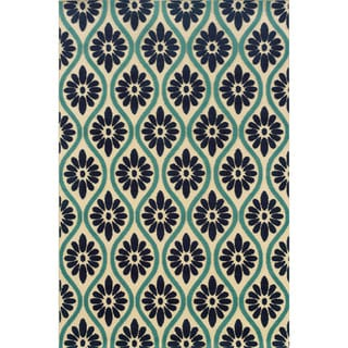 Indoor/ Outdoor Ivory/ Blue Area Rug (5'3 x 7'6)