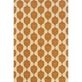 Indoor/ Outdoor Ivory/ Orange Area Rug (5'3 x 7'6)