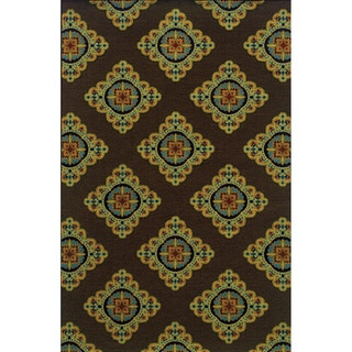 Indoor/ Outdoor Brown/ Multi Floral-pattern Area Rug (5'3 x 7'6)