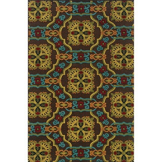 Indoor/ Outdoor Antimicrobial Brown/ Multi Area Rug (5'3 x 7'6)