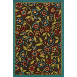 Indoor/ Outdoor Stain-resistant Brown/ Multi Area Rug (5'3 x 7'6)
