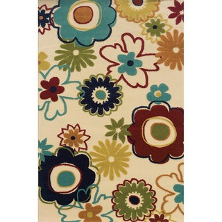 Indoor/ Outdoor Floral-pattern Ivory/ Multi Area Rug (6'7 x 9'6)