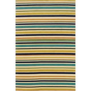 Indoor/ Outdoor Striped Ivory/ Multi Area Rug (6'7 x 9'6)