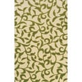 Indoor/ Outdoor Ivory/ Green Area Rug (6'7 x 9'6)