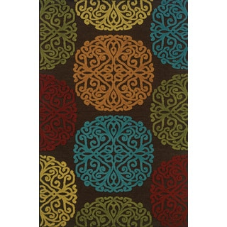 Indoor/ Outdoor Floral-pattern Brown/ Multicolored Area Rug (6'7 x 9'6)