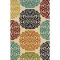 Indoor/ Outdoor Ivory/ Multi Area Rug (6'7 x 9'6)