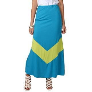 Journee Collection Womens Stretchy Colorblock Maxi Skirt