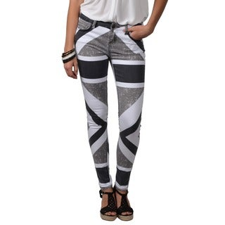 Journee Collection Junior's Printed Stretchy Skinny Pants