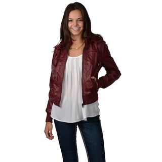 Hailey Jeans Co. Juniors Faux Leather Hooded Jacket