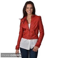 Hailey Jeans Co. Juniors Faux Leather Snap Collar Jacket