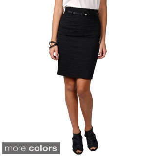 Journee Collection Juniors Belted Crinkle Skirt