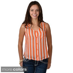 Journee Collection Juniors Striped Button-up Tank Top