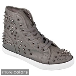 Journee Collection Women's 'Punk' Studded High Top Lace-up Sneakers