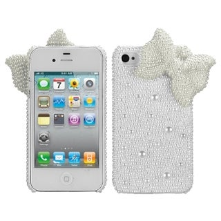 BasAcc White Bow Pearl 3D Diamante Back Case Apple iPhone 4/ 4S