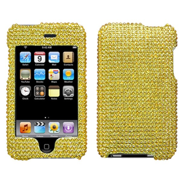 INSTEN Gold Diamante Faceplate iPod Case Cover for Apple iPod touch 2