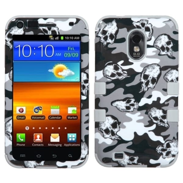 INSTEN Grey Skull Camo/ Grey TUFF Phone Case Cover for Samsung R760 Galaxy S II